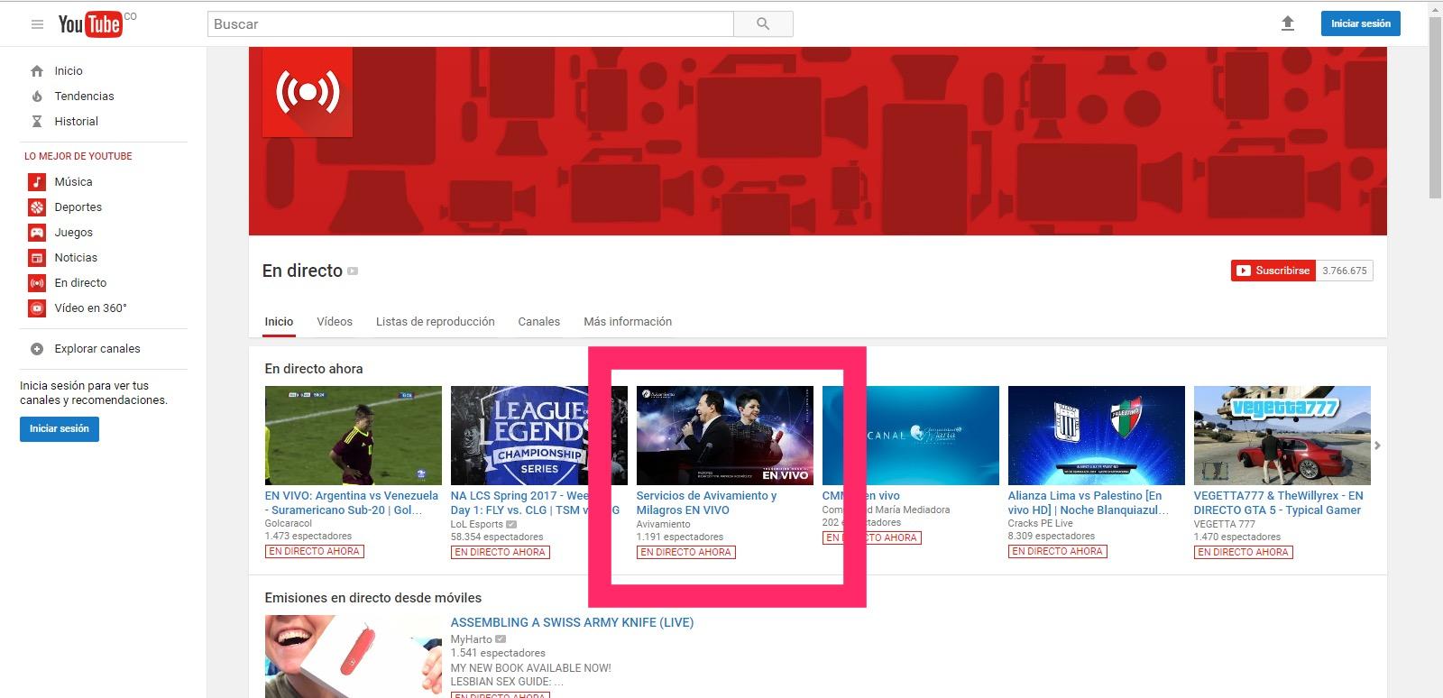 Avivamiento es tendencia en las transmisiones de YouTube